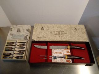 Pastry Forks and Red Crest Sheffield carving set in boxes