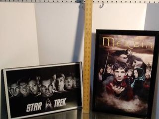 Framed STAR TREK and Merlin Posters