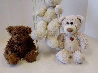 3 stuffed bears and rocking chair