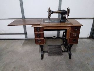 White Rotary Sewing Machine Cabinet