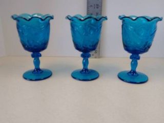 lE Smith Glass American Federal Eagle Shield Blue Ruffled Goblets