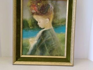Young girl framed with green felt 14 x 17
