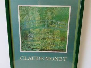 Claude Monet print framed green Harmony water lilies pool green frame
