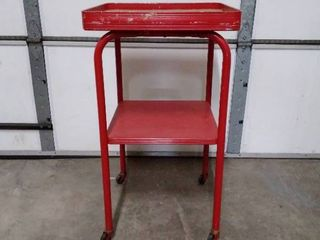 Red metal utility cart  cork top