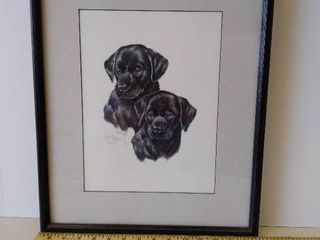 black lab puppy pair print by Roger Cruwys signed and numbered