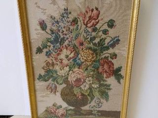 Framed needle point floral