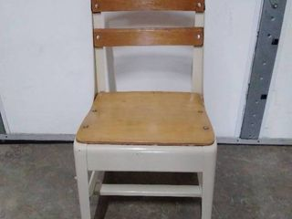 Industrial metal   wood child school chair