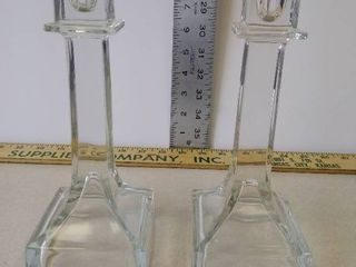 Pair of clear glass 8 5 inch candlestick candle holders