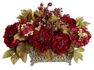 Peony and Hydrangea long Polyester Arrangement  Retail 76 45
