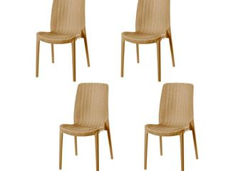 Set of Four Rue Stackable Rattan Dinning Chairs  Retail 320 00