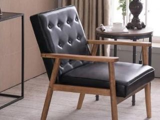 Retro Modern Wooden Accent Chair Club Chair Faux leather lounge Chair  Retail 145 49