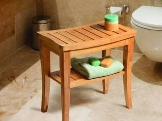 HomCom 20  long Bamboo Wood Shower Bench Seat With lower Storage Shelf