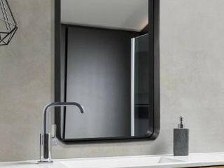 Brushed Metal Wall Mirror Glass Rounded Corner Deep Set Design