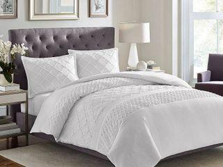 Stone Cottage Mosaic 3 piece White Textured Cotton Comforter Set  Retail 147 49