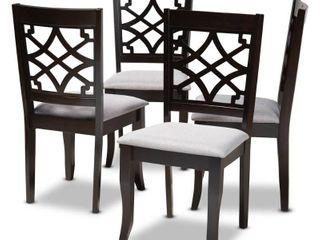 4pc Mael Espresso Wood Dining Chairs Gray   Baxton Studio