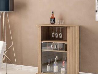 Boahaus 2 glass Door Brown Mini Bar and Wine Rack  Retail 143 99