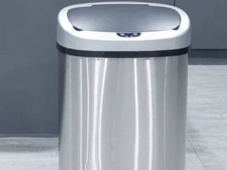 Totti 13 Gallon Stainless Steel Matte Finish Motion Sensor Trash Can w  Black Soft Closing lid   Active Odor Filter  Retail 107 49