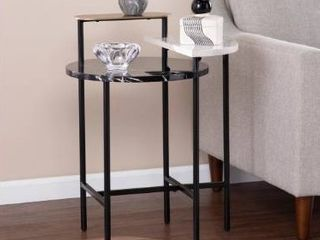 Silver Orchid Aasen Contemporary Black Stone End Table  Retail 137 49