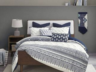 Full Queen 3pc Mila Cotton Printed Duvet Cover Set with Chenile Navy