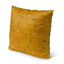 Set of 2 CACTUS SOFT MUSTARD Indoor Outdoor Pillow by Kavka Designs   18X18