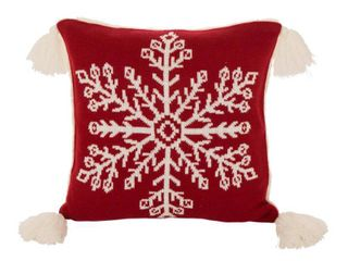 Set of 2 18  x 18  Knitted Acrylic Throw Pillow Cover with Tassels Red   Glitzhome