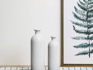 Handcrafted 4 Home Modern Painted Glass Vase  White  Set of 2