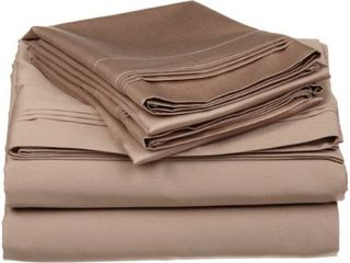 100  Egyptian Cotton 650 Thread Count  King 4 Piece Sheet Set  Deep Pocket  Single Ply  Solid  Taupe
