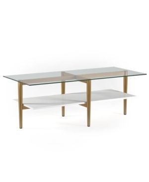 Otto Mid Century Glam Coffee Table in Gold with White lacquer Shelf  Retail 245 99