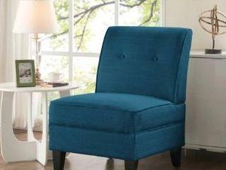 Handy living Courtney Peacock Blue linen Armless Chair  Retail 228 99