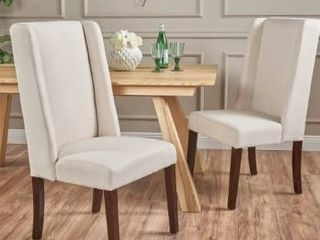 Rory Ivory Fabric Dining Chairs set of 2 by Christopher Knight Home