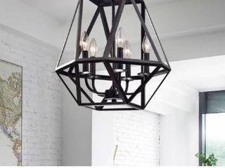 The Gray Barn Otis 5 light Modern Antique Black Iron Chandelier  Retail 96 49