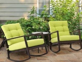SunCrown 2 pc outdoor Patio Wicker Rocking Chairs