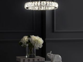 Reese 15 7  Integrated lED Metal Crystal Pendant  Chrome by JONATHAN Y  Retail 178 99