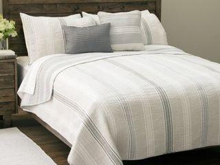 Sanibel Island Stripe 5 piece Cotton Quilt Set  Retail 84 99