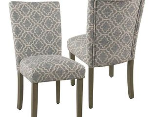 HomePop Parsons Ash Grey Geometric Dining Chair  Set of 2  Retail 206 49