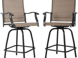 PHI VIllA All weather Swivel Patio Bar Stools  Set of 2  Retail 219 99