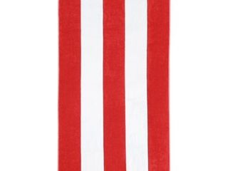 Set of 2 Superior Collection luxurious Jacquard Cotton Beach Towels  Oversized  Red Cabana Stripes
