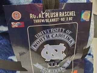 North Carolina University Royal Plush Raschel Throw Blanket