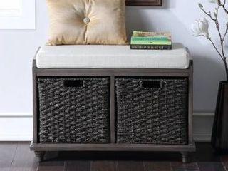 Harper   Bright Designs Wood Storage Bench with 2 Woven Baskets  Retail 225 49