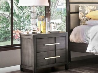 Furniture of America Tass Transitional Solid Wood 2 drawer Nightstand  Retail 156 49