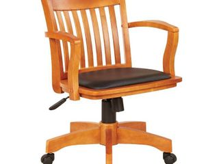 Deluxe Wood Banker s Chair Padded Seat with Base Fruitwood Black   OSP Home Furnishings