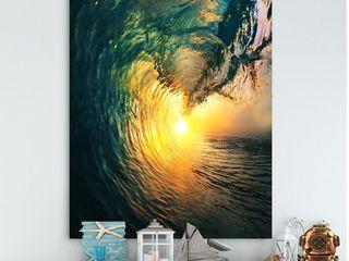 Designart  Colored Ocean Waves Falling Down VI  Modern Seashore Canvas Art   Gold  Retail 99 49