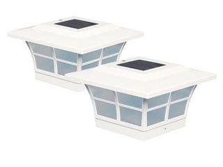 Classy Caps 5x5 White PVC Prestige Solar Post Cap  Set of 4
