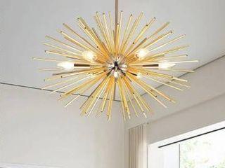 lorena 12 light Gold Sputnik Chandelier with Crystal and Slender Rods  Retail 198 49