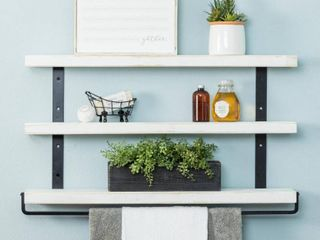 Del Hutson Designs Distressed look Industrial Grace Three Tier Floating Shelves  Retail 85 49
