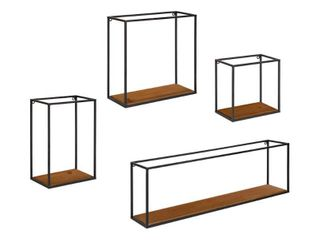 Kate and laurel Mallory Wood and Metal Wall Shelf Set   4 Piece  Retail 99 99