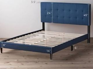 Copper Grove Ayrum Upholstered Bed Frame with Square Tufted Headboard  Retail 189 99