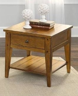 lake House Oak Finish Rustic End Table  Retail 227 49