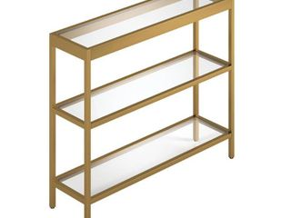 Alexis 3 Shelf Short Console Table in Brass Bronze