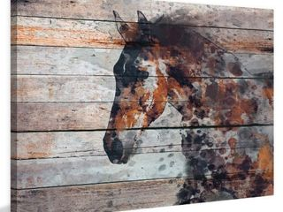 Marmont Hill   Handmade Fire Horse Print on Wrapped Canvas  Retail 194 49